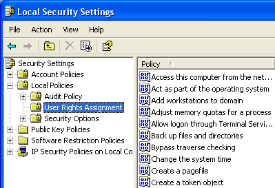 6-6. Configuring the Local Security Policy Assign the Log on as a service authority for RadiCS Network Upgrade Software user.