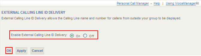 Calling Line ID Delivery External External Call Line ID Delivery enables the display of an outside caller s identity to the user via any calling line ID-equipped phone or device.