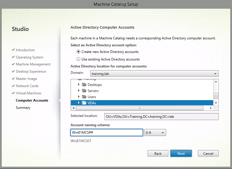 9. On the Computer Accounts screen select: Create new Active Directory accounts Expand Training and select VDAs