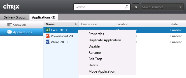 11. Enter Win2012R2 MCS for both the Delivery Group name and Display name and click Finish. 12. Click the Applications tab and notice the applications that were just published. 13.