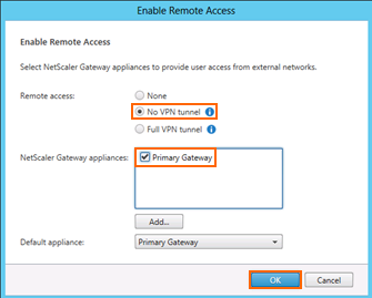28. Under the Stores node, click Enable Remote Access within the s pane. 29. Select No VPN tunnel, check Primary Gateway and then click OK. Exercise Summary NetScaler 10.