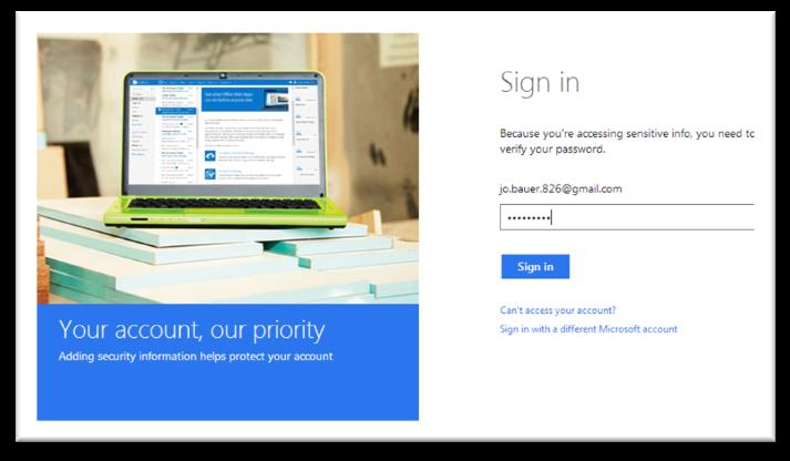 Step 7) A sign-in page appears. Login to verify the account: Step 8) Click on the blue Send email button on the next screen.
