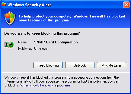 message shown as Figure 7. You need to unblock the wsnmpcfg.exe program before you run the program.