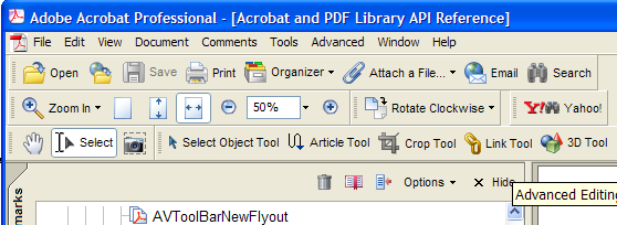 7 Creating Toolbars and Buttons This chapter explains how to use the Acrobat core API to create new toolbars and toolbar buttons and to modify existing ones.