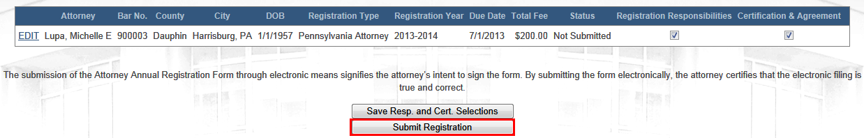 In the Certification and Agreement section, indicate you have read the notice by selecting the checkbox.