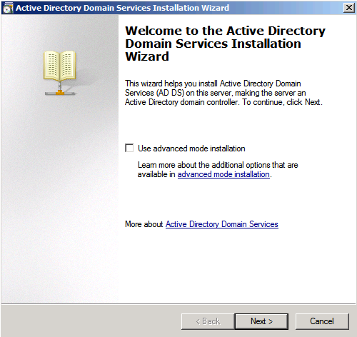 This section shows you how to install an active directory on Microsoft Windows Server 2008 R2 Enterprise 64-bit system. To install the Microsoft Active Directory Domain Services: 1.
