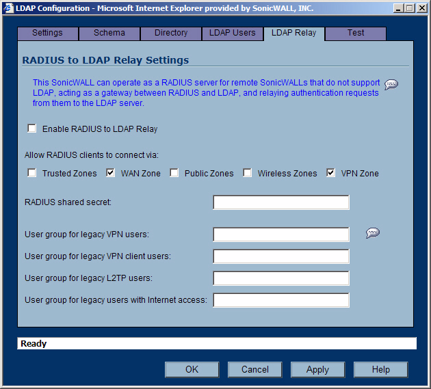 Configuring LDAP integration in SonicOS Enhanced 10. Select the LDAP Relay tab.