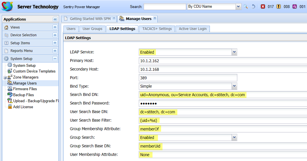 SPM Settings for OpenLDAP If you are using OpenLDAP, you can follow the step-by-step instructions above for configuring LDAP with Active Directory (AD), but note the several highlighted fields below