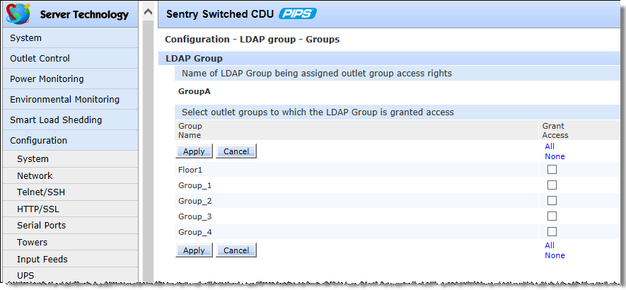 Grant or deny individual outlet access to an LDAP group For an LDAP group in the list, click the Outlets link.