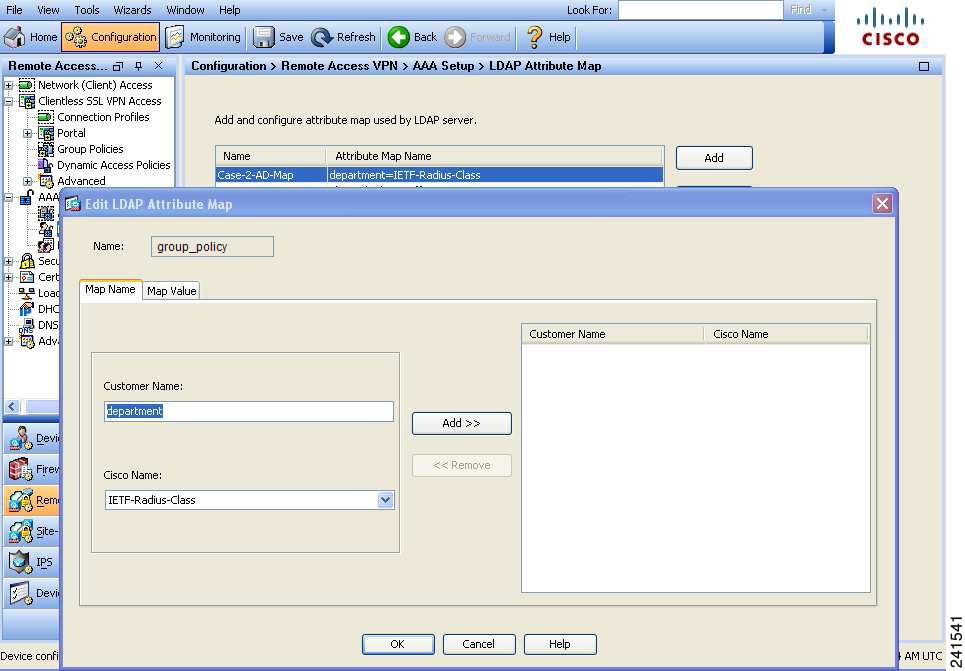 Step 2 Create an attribute map for the LDAP configuration shown in Step 1.