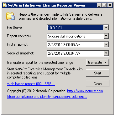 Figure 19: NetWrix File Server Change Reporter Viewer 2. In the NetWrix File Server Change Reporter Viewer dialog, select the file server, report contents and snapshots by date. 3.