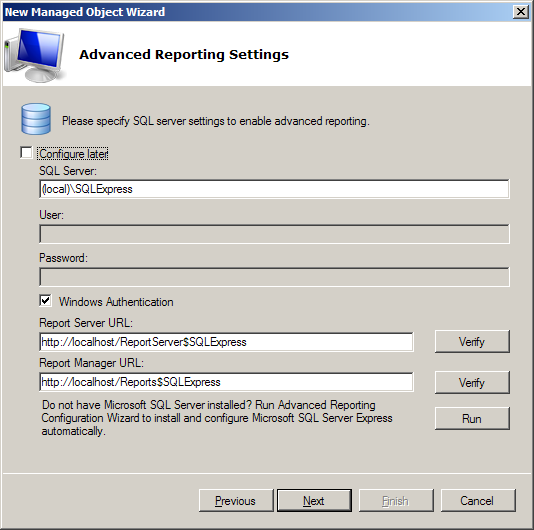 8. On the Advanced Reporting Settings screen, you must specify the settings that will be used for Advanced Reporting: SQL Server where the product database (with data collected for the reporting