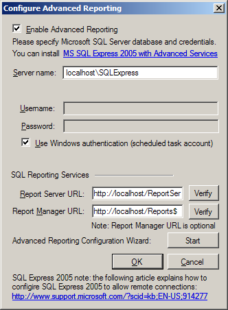 the left pane. Figure 47: Advanced Reporting Settings To change your SQL server settings, click Configure.
