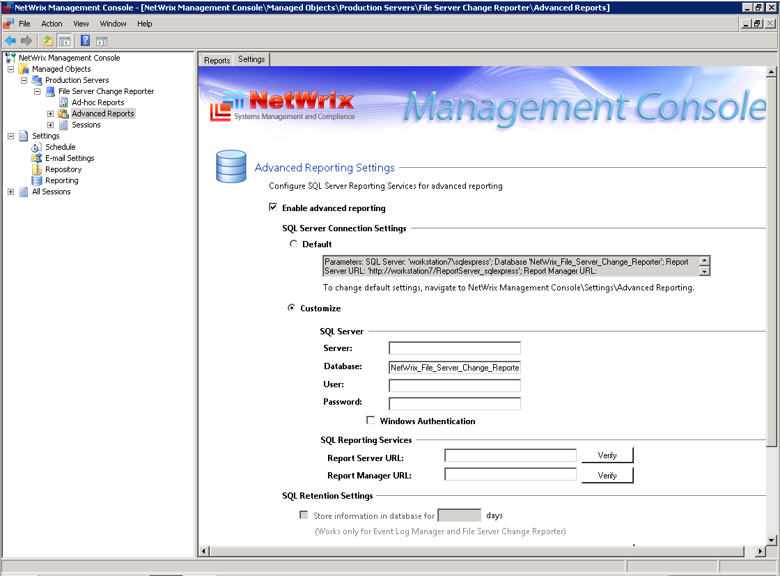 Figure 56: Advanced Reporting Settings On the Advanced Reporting Settings screen, you can modify the required settings by selecting the relevant