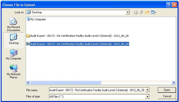 Import Me! NOTE: When importing the audit, ensure that the zip file is imported, not the folder (as shown above).