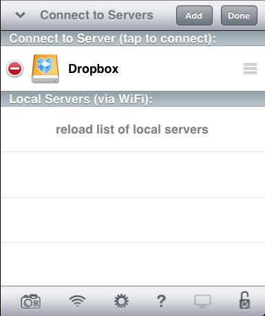 Enter a name for your Dropbox (this name will appear in your server list) and tap