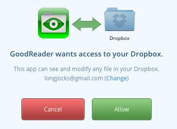 GoodReader wants to access Dropbox.