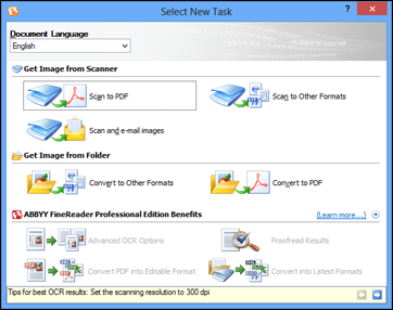 3. Select the language used in the document you are going to scan as the Document Language setting. 4.