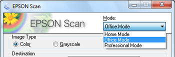 Parent topic: Selecting Epson Scan Settings Related tasks Scanning in Home Mode Scanning in Office Mode Scanning in Professional Mode Scanning in Office Mode When you scan in Office Mode, Epson Scan