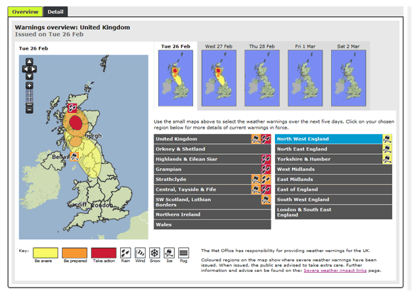 National Severe Weather Warning Service 9 The Met Office gives advance warning of severe weather to the public, government & businesses.