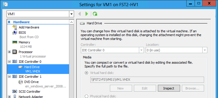 How to use it: simply type a UNC path New-VHD -Path \\FS1\VMS\VM1.