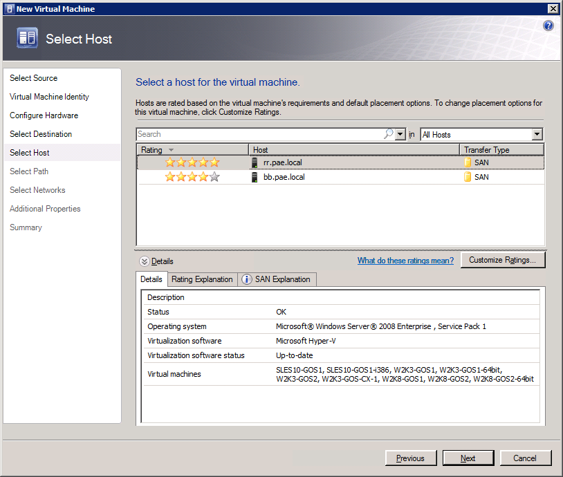 7 Creating a Virtual Machine S 6. Click Next. The Select Virtual Machine Host dialogue box displays.