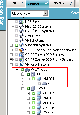 Using Global and Local Backup Options The following screen illustrates browsing VMware VMs: When you submit a backup job, CA ARCserve Backup prompts you to provide the User name and password