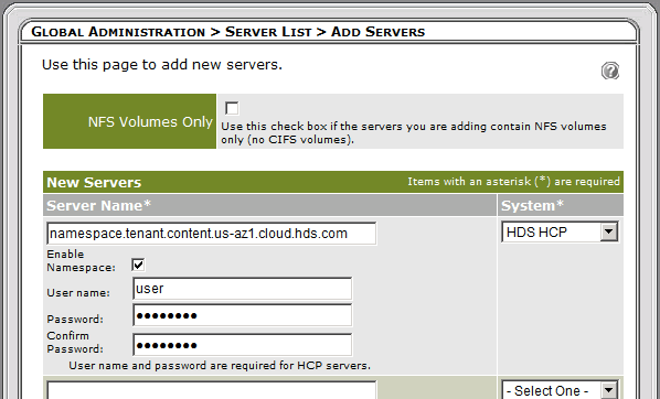 Figure 2. Arkivio Server List with the Hitachi Cloud Service Displayed.