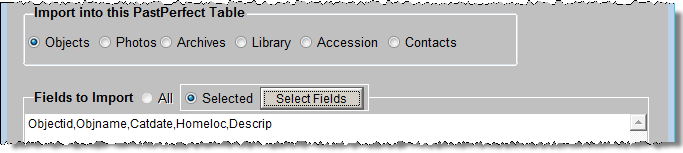 542 PastPerfect Museum Software User s Guide field order from the input file.