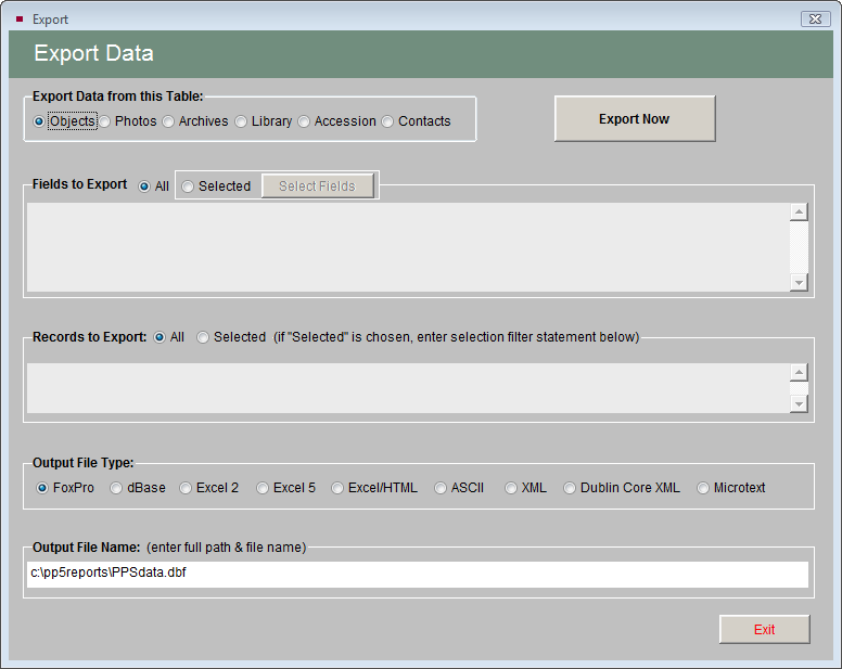 Utilities 543 EXPORT DATA The Export function is helpful because it enables you to transfer your PastPerfect data to other programs.