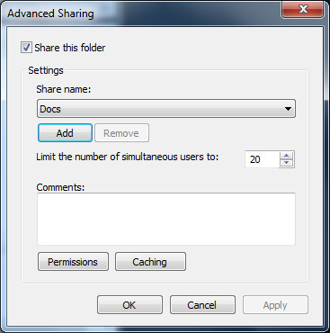 Step 2: Click on the Advanced Sharing