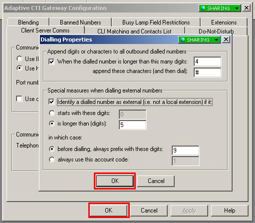 Click on Dialling properties on the Adaptive CTI Gateway Configuration window as shown below. Prefix numbers for outside lines and appended numbers are added for the system on this screen.