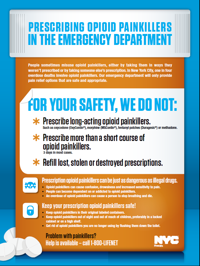Emergency Department Guidelines Released January, 2013 Adopted by 38 NYC emergency departments 26 New York City Emergency Department Discharge Opioid Prescribing Guidelines Clinical Advisory Group: