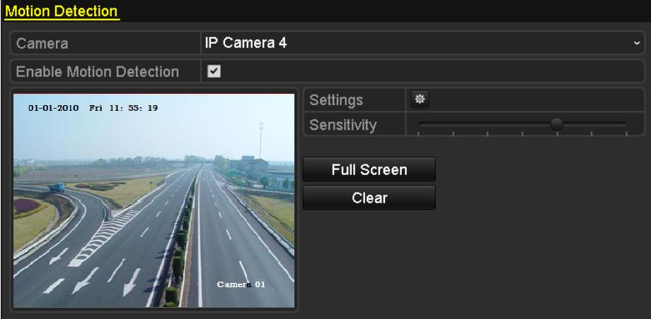 8.1 Setting Motion Detection Alarm 1. Enter Motion Detection interface of Camera Management and choose a camera you want to set up motion detection. Menu> Camera> Motion Figure 8.
