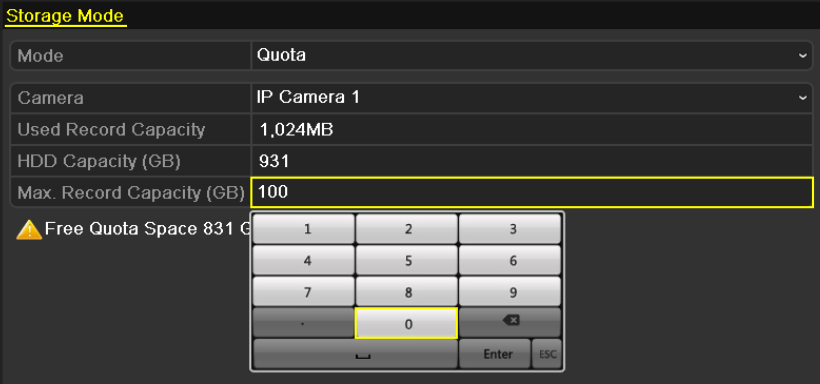 10.4 Configuring Quota Mode Purpose: Each camera can be configured with allocated quota for the storage of recorded files. 1. Enter the Storage Mode interface. Menu > HDD > Advanced 2.