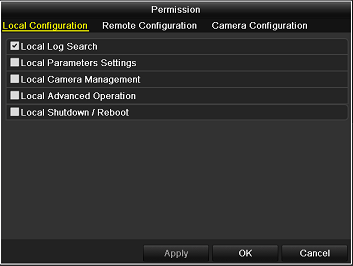 Figure 13. 7 User Permission Settings Interface 6. Set the operating permission of Local Configuration, Remote Configuration and Camera Configuration for the user.