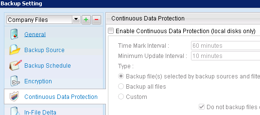 8. Once you are satisfied with the encryption type and backup time click on Finish. 9.To change advanced options (Such as Continuous Data Protection) for the backup set click on the gear icon. 10.