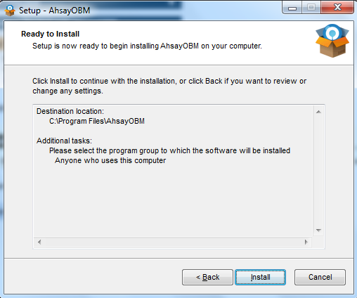 2. Click on the AhsayOBM installation wizard to download Ahsay Online Backup Manager. 3. Once the download is complete, execute the installer and follow the options.