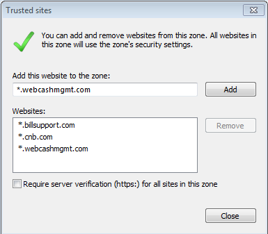 3 5. Enter each of the following websites as appropriate to your list of trusted sites ( zone ) and select Add