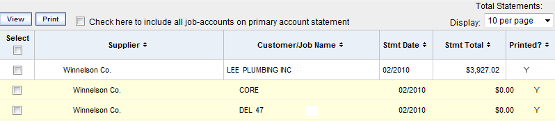 Searching / Filtering Statements Search/filter options for Statements are similar to those for Invoices.