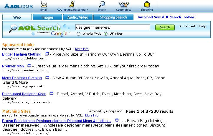 Google Network: AOL Example Search query: designer