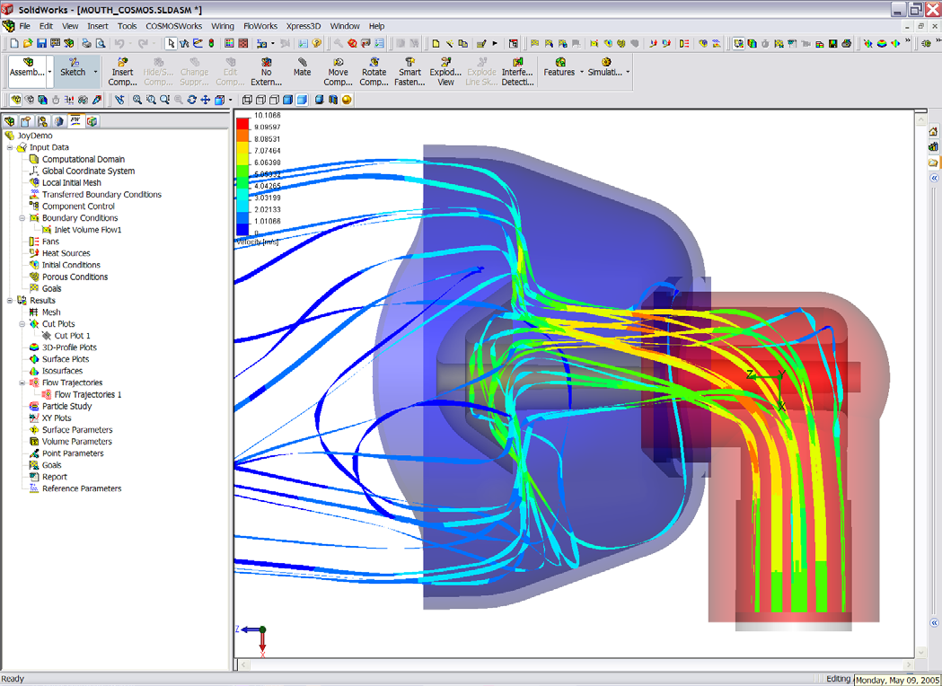 Having solid modeling and design analysis, such as finite element analysis (FEA), integrated within a single environment means you can evaluate design performance at a much earlier stage and not