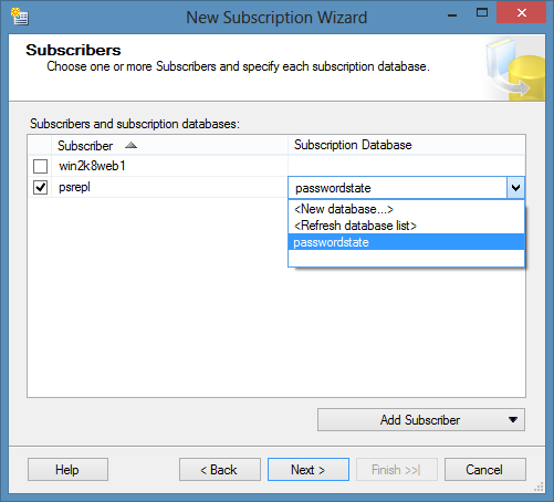 Type in the name of the Subscriber SQL Server, then click on the Connect button Select the