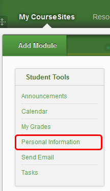 Managing Profile Information 1. On the My CourseSites tab, within the Instructor Tools menu, click Personal Information.