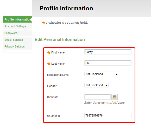 2. Click on Profile Information, then enter and/or edit