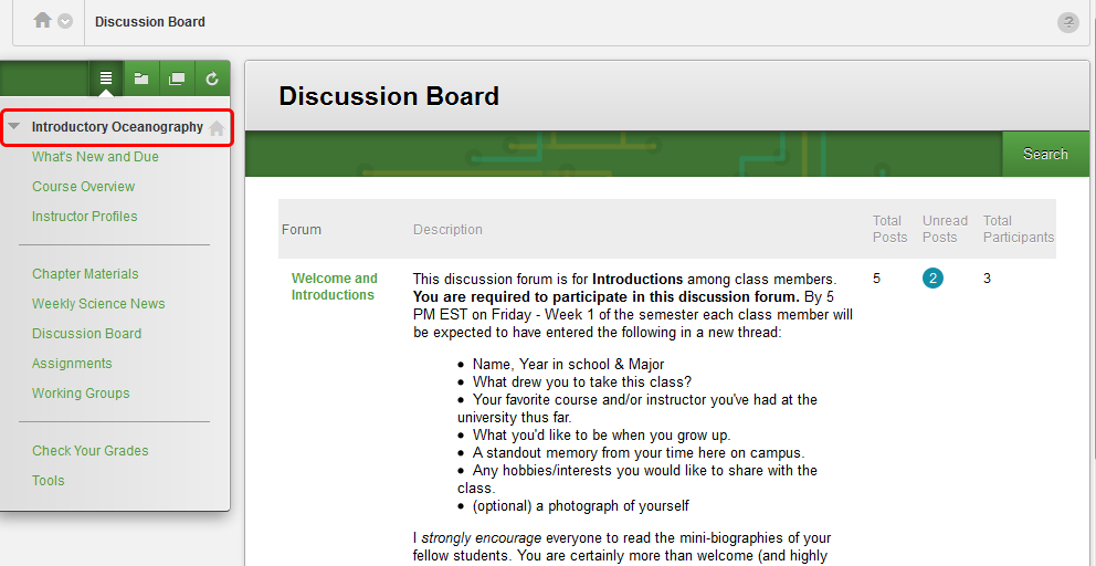 5. The Discussion Board of the course you selected (Introductory Oceanography) will appear.