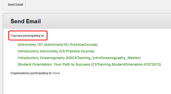2. Select the course from which you want to send the email.