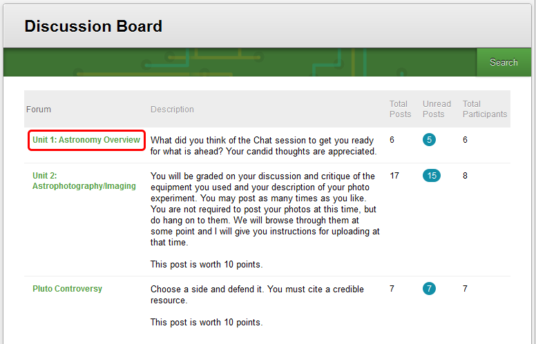 2. On the Discussion Board page, click on the name of the Forum.