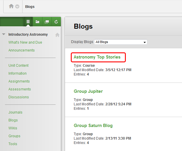 2. On the Blogs listing page, select the name of