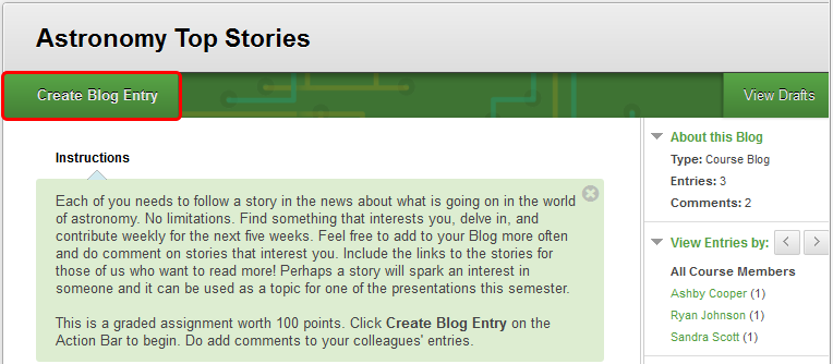 3. On the Blog topic page, click Create